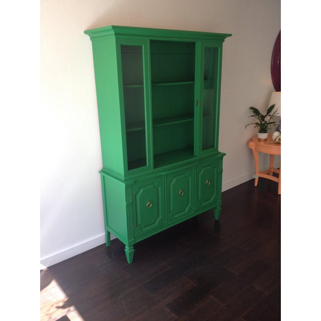 Painted Kelly Green China Hutch - Image 3 of 5