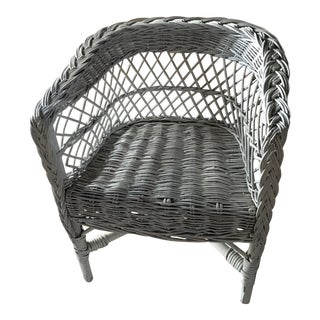 Child's White Wicker Chair