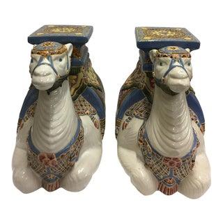 Camel Ceramic Garden Stools - a Pair