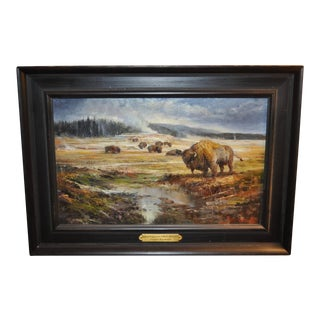 "Stefan Baumann ""Equinox Congregation of Bison"" Yellowstone, National Park Oil Painting"