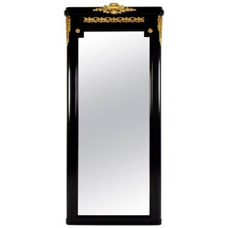 Vintage French Louis XVI Ebonized Wall Mirror