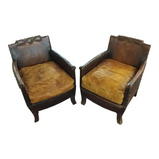 C.1930s French Club Chairs - A Pair