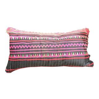 """Vintage Hmong Applique Pillow Black & Pink - 22"""" x 11"""""""