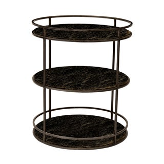 Curate Home Gun Metal Iron & Wood Round End Table