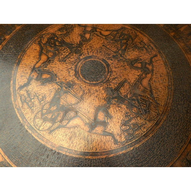 Egyptian Theme Stamped Copper Coffee Table Ca 1970 - Image 5 of 7