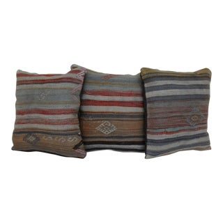 Striped Hand-Knotted Kilim Rug Pillows - Set of 3