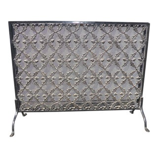 Vintage Spanish Style Metal & Wrought Iron Decorative Fireplace Screen