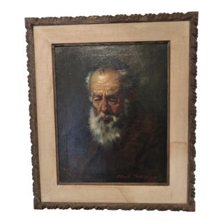Vintage Oil Portrait of Rabbi Frank M. Tauriello