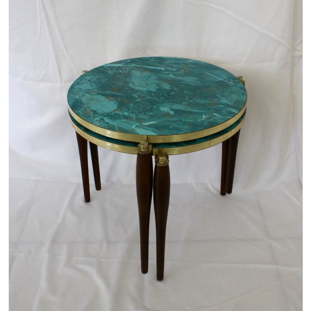 Faux Aqua Marble Stacking Tables - a Pair - Image 2 of 6