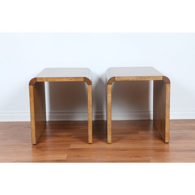 Mid Century Burlwood Nightstands - 2 - Image 4 of 9