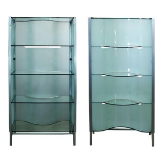 Modern Dual Sided Glass and Metal Enclosed Display Vitrine Étagère Cabinet or Room Divider