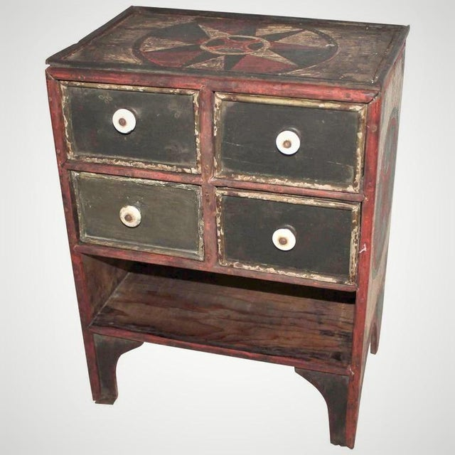 19th Century Original Paint Decorated Tabletop Apothecary Cabinet - Image 2 of 8