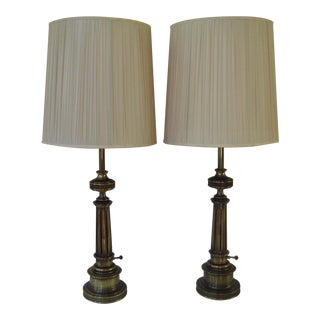 Stiffel Federal Style Brass Table Lamps - A Pair