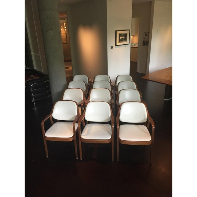 Vintage Don Petitt for Knoll White Leather Armchairs - Set of 12 - Image 5 of 11