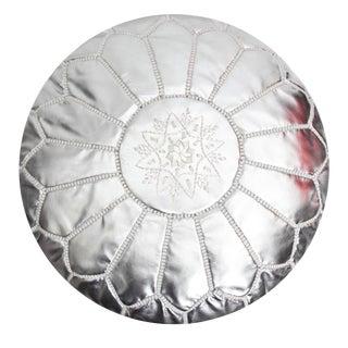 Boho Atlas Silver Leather Pouf