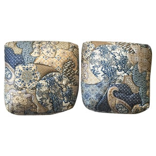 1970s Vintage Asian Quilted Paisley Pillows - Pair
