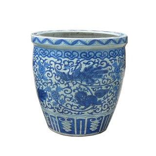 Chinese Blue & White Phoenix and Foo Dog Decorated Porcelain Planter