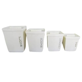 Vintage White Plastic Square Kitchen Canisters - Set of 4