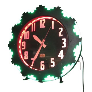 "Art Deco ""Aztec"" Two Color Neon Wall Clock"