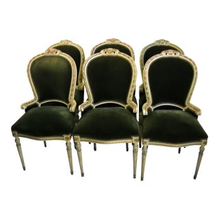 Italian Painted Gilt Dining Chairs - Set of 6