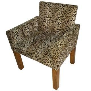Vintage Parsons Style Leopard Armchair