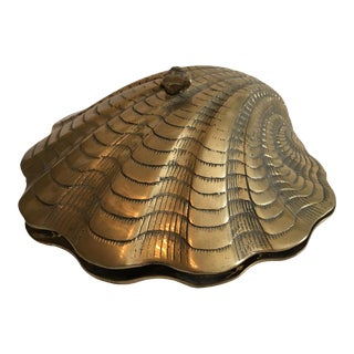Hinged Brass Seashell Box