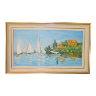 Sailboats on the Water Vintage Oil Painting