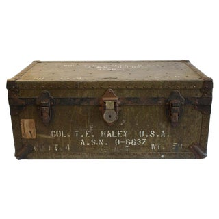 1939 WWII Era Military Trunk Leather Metal Trim