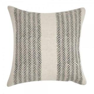 Tan Block Print Linen Pillow