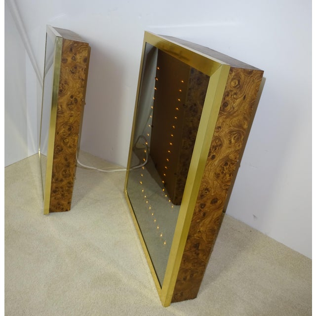 Image of Vintage Brass & Burl Wood Infinity Mirrors - a Pair
