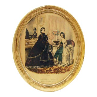 Framed Oval Victorian Print