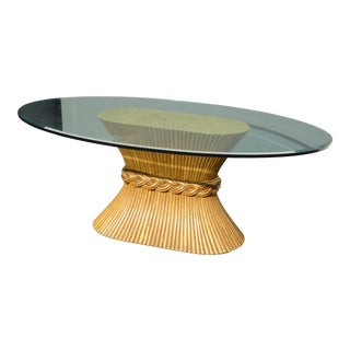 McGuire Bamboo Wheat Sheaf Dining Room Table With Beveled Oval Glass Top