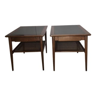 American of Martinsville Caned Side Tables - a Pair
