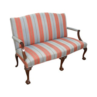 Kindel Chippendale Style Ball & Claw Foot Mahogany Settee