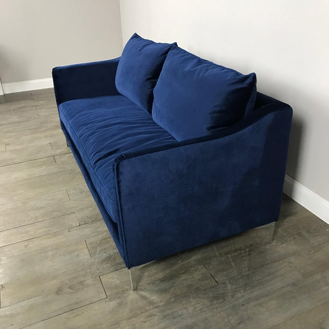 Royal Blue Velvet Sofa - Image 9 of 11