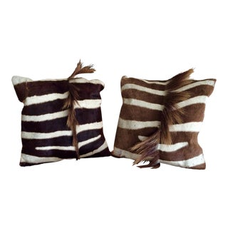 Genuine Zebra Hide Pillows - A Pair