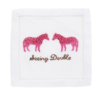 """Seeing Double"" Embroidered Cocktail Napkins - S/4"