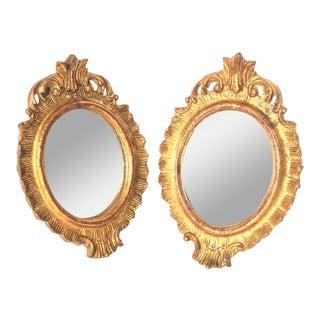 Petite Gilded Florentine Mirrors - A Pair