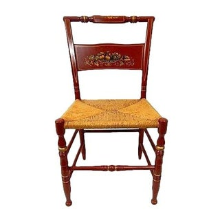 Rustic Burgandy Caned Seat Side Chair