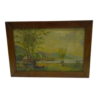 """Circa 1920 Coceary """"Home on the Lake"""" Original Painting"""