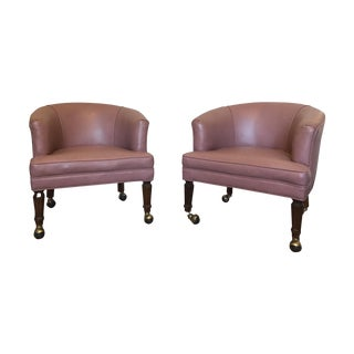 Pair English Regency Tub Chairs on Wheels