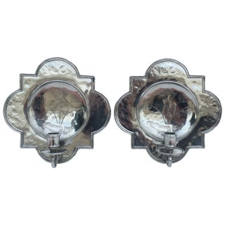 Pierre Deux Pewter Wall Candle Sconces - a Pair