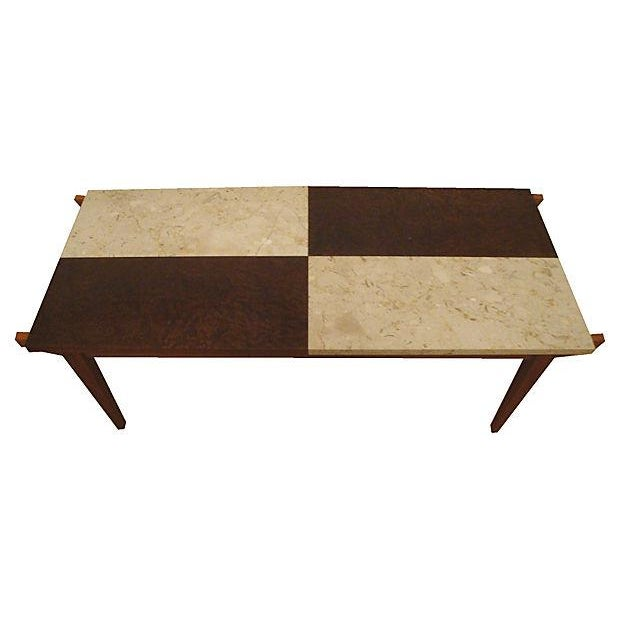 Marble Coffee Table Marks And Spencer: Mid-Century Marble & Burl Wood Coffee Table