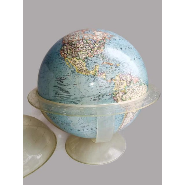 Vintage 1960s Tall Lucite Base World Globe - Image 3 of 7