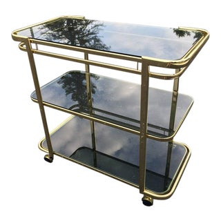 Brass & Smoked Glass Bar Cart