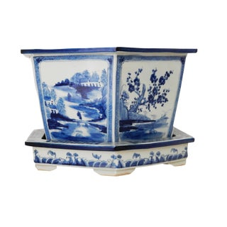 Blue & White Hexagonal Jardiniere