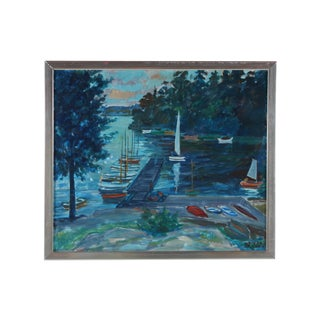 Sailboats on the Pier Oil Painting