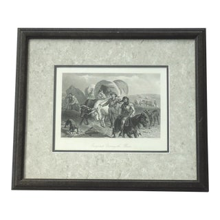"""Emigrants Crossing the Plains"" Antique Engraving"