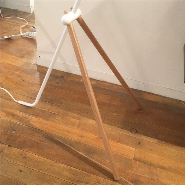 Modern White Metal & Teak Floor Lamp - Image 6 of 9
