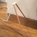 Image of Modern White Metal & Teak Floor Lamp